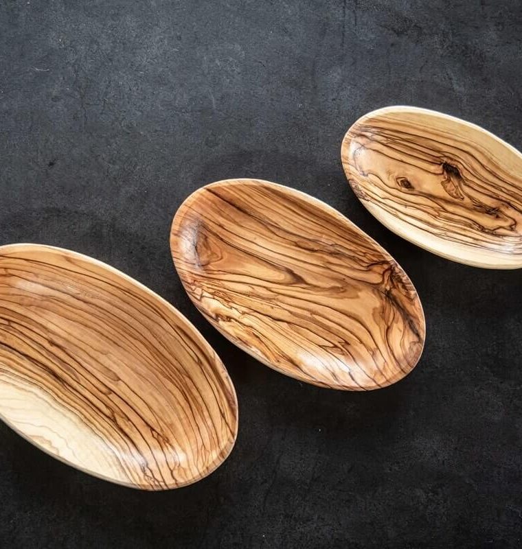 wooden set oval bowls
